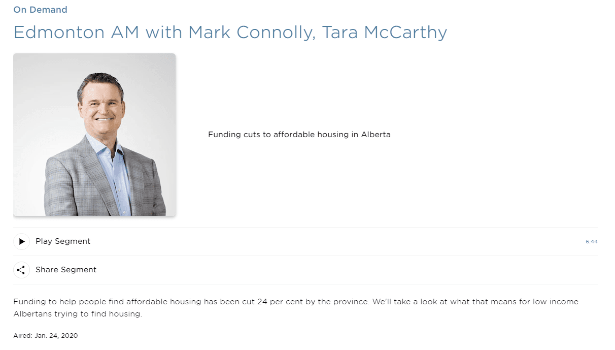 screen capture of the CBC website about Mark Connelly's radio show