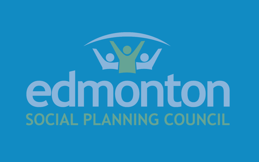 Edmonton Social Planning Council logo on blue background.